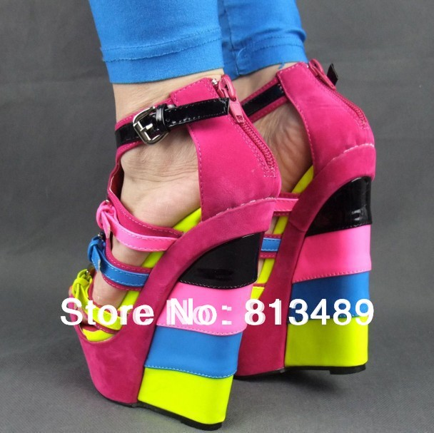 Гаджет  NewHot-selling Candy neon colorant match velvet leather Buckle strap ladies Wedge sandals ultra high heels wedges plus size36-41 None Обувь