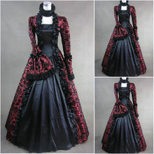 Freeship!Customer-made Black Vintage Costumes Cosplay Renaissance Dress Steampunk dress Gothic Cosplay Halloween Dresses C-861