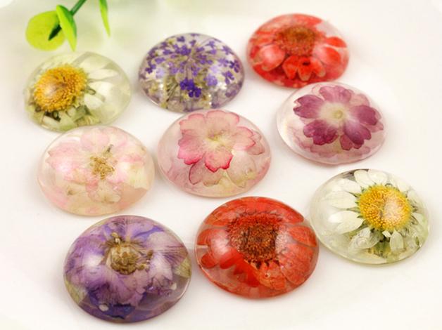 New Fashion 5pcs 25mm Mixed Natural Dried Flowers Flat Back Resin Cabochons Cameo R-25033(China (Mainland))