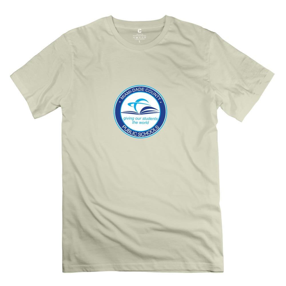 men's Miami-Dade County Public Schools 2015 Stylish t shirt Pretty Men Short Sleeve 100% Cotton tshirt at Cheapest Price(China (Mainland))