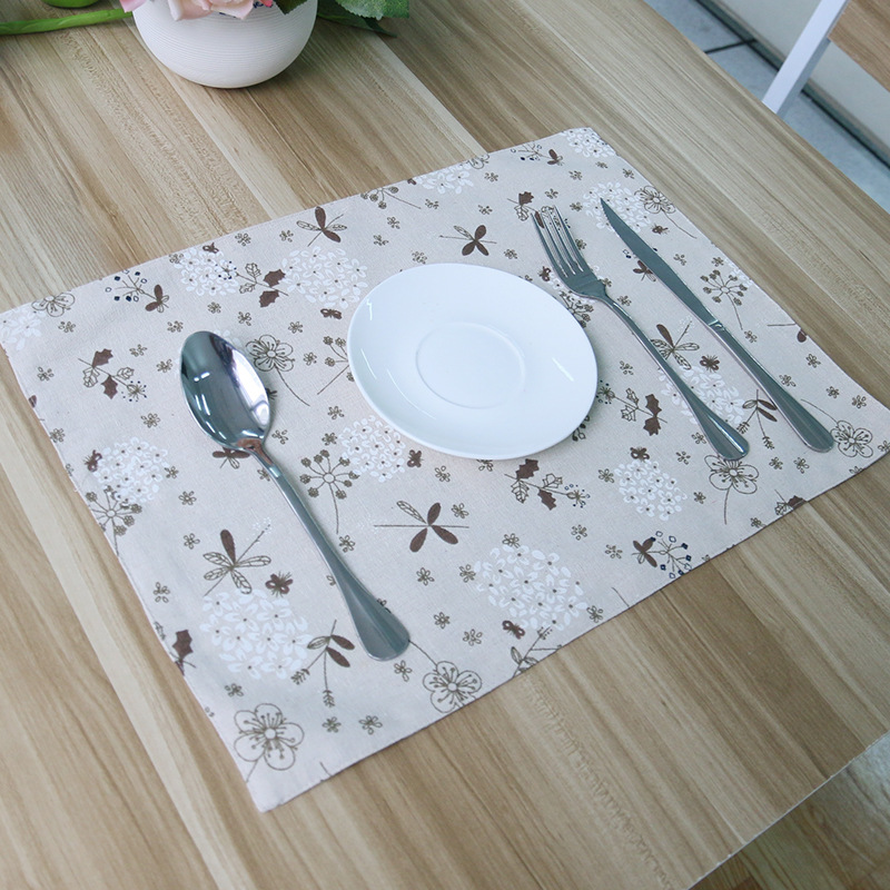 4Pcs/Lot Ligh Quality Cotton Fabric Table Mat Brown Dandelion Pastoral Coaster Insulation Pad Doily Bowls Mat(China (Mainland))