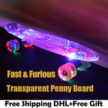 Green Transparent Peny Board Skateboard Complete Retro Cruiser Mini Longboard Skate Fish Long Board skate wheel Pnny Board 22(China (Mainland))