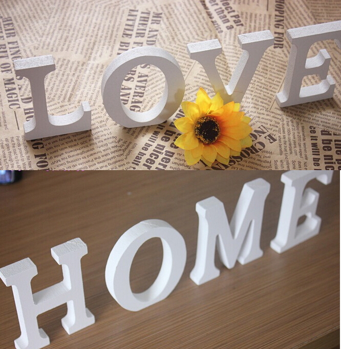 LOVE English letter 3D Wall sticker wooden word letter wall sticker home decoration wedding personalized Name house Doorplate(China (Mainland))