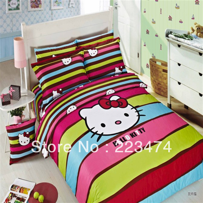 Free Shipping Cute Gift 100 Cotton Hello Kitty Queen King Size 4pcs Bedding Set Comforter Set
