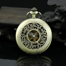 Mechanical Hand Wind Pocket Watch for Men Woman Gift Necklace Watch Lovely Leaves PJX929(China (Mainland))