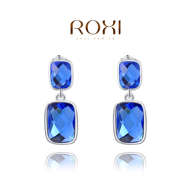ROXI top sell big blue created crystal luxury earrings women white gold plated freeshipping - international trading LTD ( and retail store)