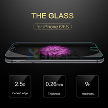 0.26MM 2.5D UltraThin Tempered Glass Screen Protector For iPhone 6/6S Explosion-proof Protective Film Free Ship with retail box