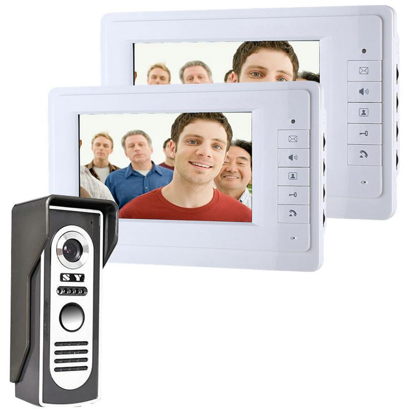 7 inch  wired Color video doorphone door intercom  Doorbell System Kit IR Camera  monitor intercom video door bell camera<br><br>Aliexpress