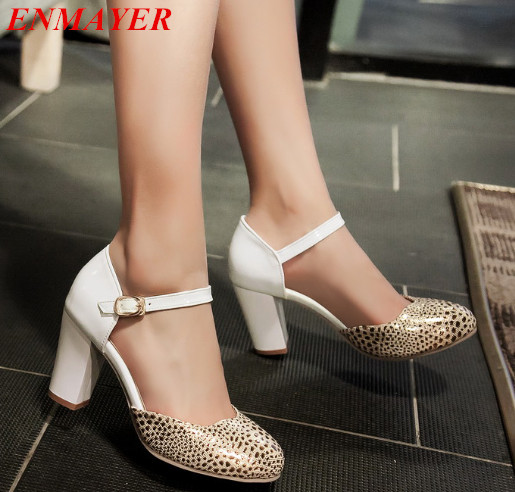 ENMAYER  Closed round toe pumps women square heel pumps platform pumps fashion shoes 2015 new large size 34-43