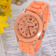 Silicone Geneva Watch Woman Wristwatch Women Silicon Jelly Rubber Band golden gold movement Ladies Korean Brown Chocolate