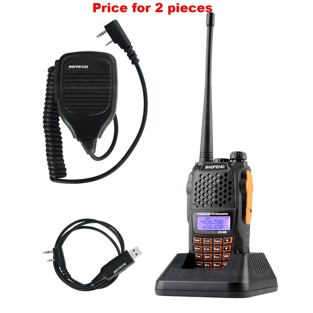 Baofeng Pofeng UV-6R Walkie talkie Radio vhf 136-174/400-520 Yaesu Transceiver Two-way Radio Walkie Talkie+Cable Mic(China (Mainland))