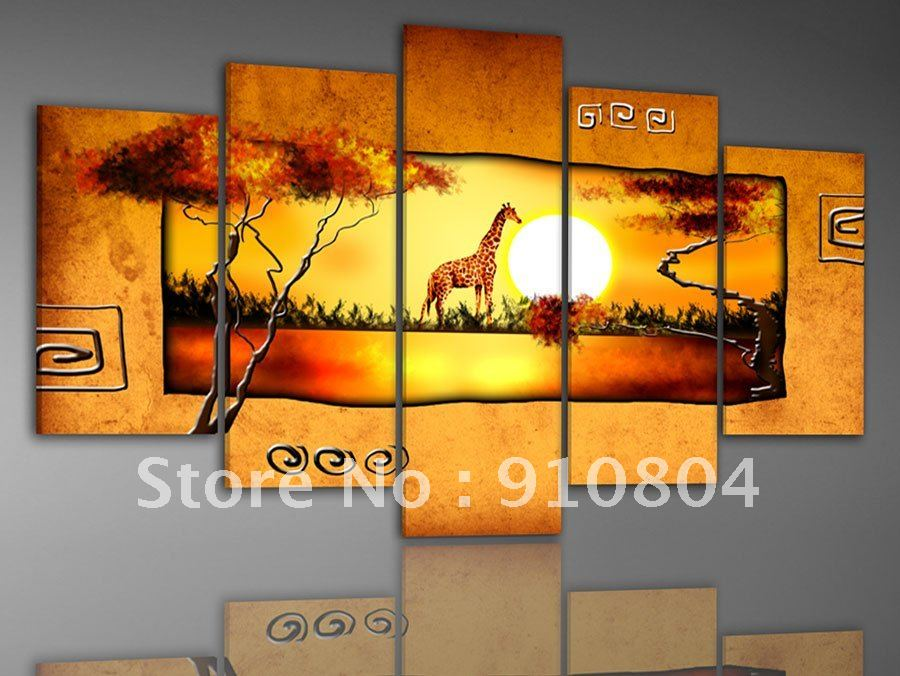Framed 5 Panels Huge Canvas Art,Canvas Painting,African Oil Painting,Painting on Canvas,African Art,Landscape Paintings--XD00034(China (Mainland))