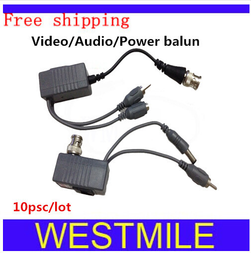 10PCS/LOT Bnc connectors cctv balun UTP twisted pair with video audio power for cctv system Free Shipping(China (Mainland))