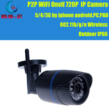 Wireless 720P Outdoor IP Camera,5/4/3G By Iphone Android,PC,PAD,P2P,Onvif,802.11b/g/n WiFi Security Camera IR Distance 20M