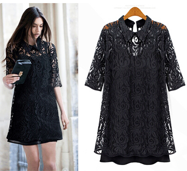 Женское платье Lace Dress s/xxxl 2015 half Sleeve dress fashionable shawl collar color block long sleeve blazer for women