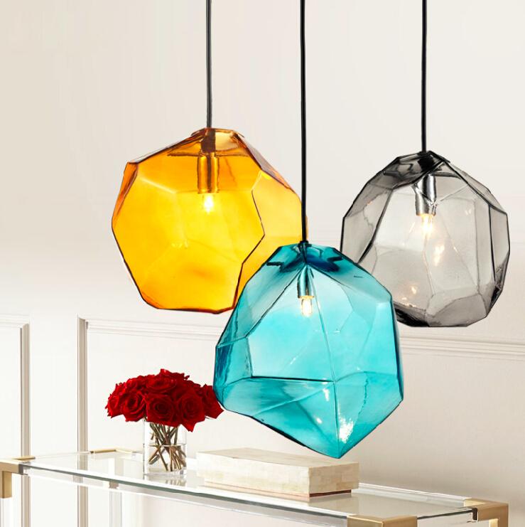 Crystal glass lighting ice cube pendant lamp polygon glass - Colored glass pendant lights ...