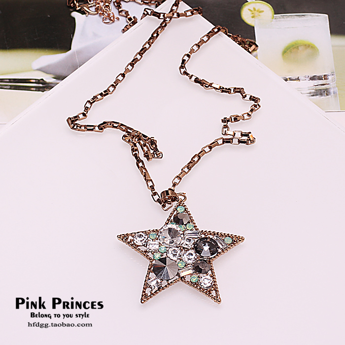Vintage full rhinestone five-pointed star pendant long necklace brief all-match accessories decoration - yingmei jewerly store