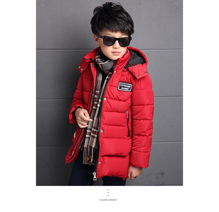 Скидки на Большие Дети Зимнее Пальто Новое Прибытие Продажа Осенью И Зимой больших Детей 5-15years Мальчиков Хлопка Длинное Пальто Утолщение Согреться куртка