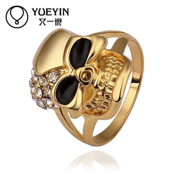 2015 New Hot sale Rings Gold colored Simulated Diamond skull rings for men Rock Punk Gold Ring Fashion Jewelry(China (Mainland))