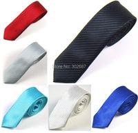 Mens 2 Inch Skinny Necktie Neck Ties Solid Black Jacquard Fabric Slim Narrow Ties Men Fashion Accessories Free Shipping 10 PCS