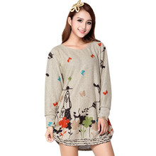 Plus size New 2015 maternity wear winter Dress Loose Long Sleeve Printing Maternity Dresses Clothes for pregnant women tops