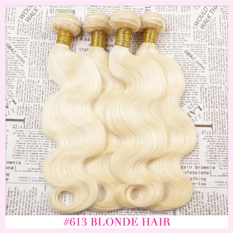 4Pcs Lot European Blonde Virgin Hair Weave Bundles 8A Grade Virgin Unprocessed Human Hair(China (Mainland))