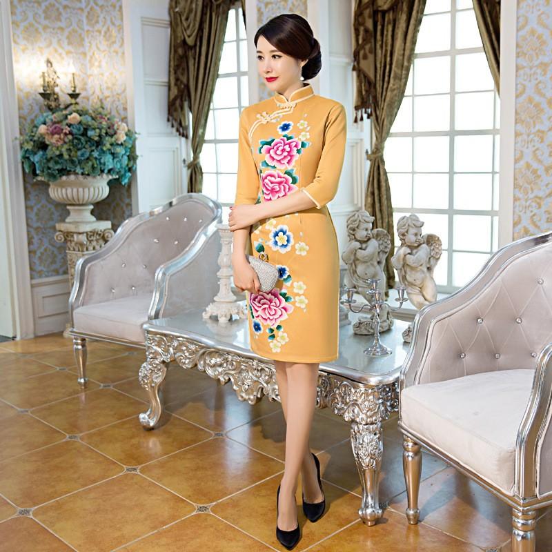 ด้านคุณภาพวินเทจทองของผู้หญิงขนสัตว์สั้นCheongsamแฟชั่นสไตล์จีนชุดที่สง่างามQipaoขนาดSml XL XXL XXXL F101020 ถูก