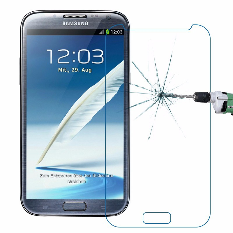 2Pcs 9H Tempered Glass Screen Protector Film for Samsung Galaxy N7100 Note2 N7102 N7108 N719 + Alcohol Cloth + Dust Absorber(China (Mainland))