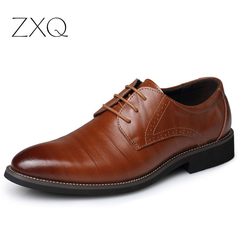 New 2016 Oxford Shoes For Men Big Size Brown Genuine Leather Shoes Lace Up Flat Office Men's Dress Shoes(China (Mainland))
