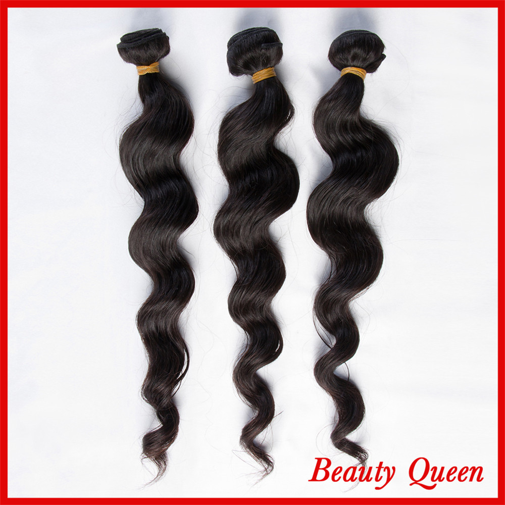 7A Queen hair products Loose wave Natural Black Can Be Dyed Tangle Free No Shedding 3 Bundles DHL Free shipping