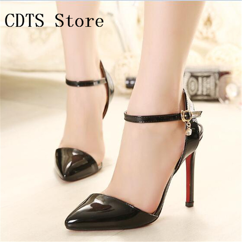 CDTS zapatos Plus:35-43 44 45 46 Summer Crossdresser Sandals 12cm Thin high heels shoes woman Ankle Strap Pointed Toe pumps<br><br>Aliexpress