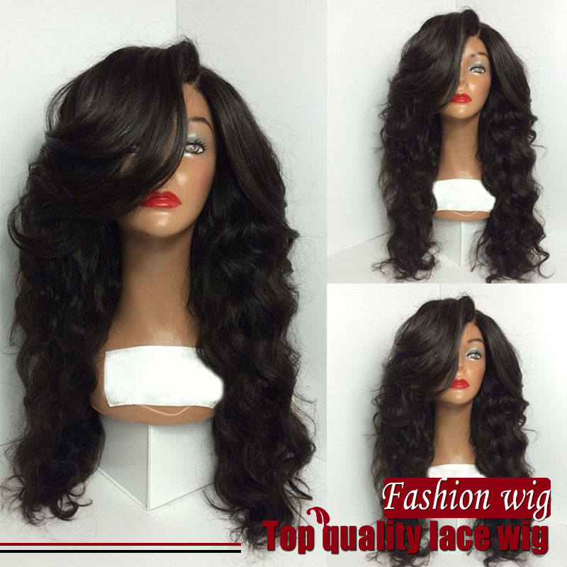 Cheap 7A brazilian synthetic hair wigs for black women deep wave upart wig side bang with baby hair half wigs