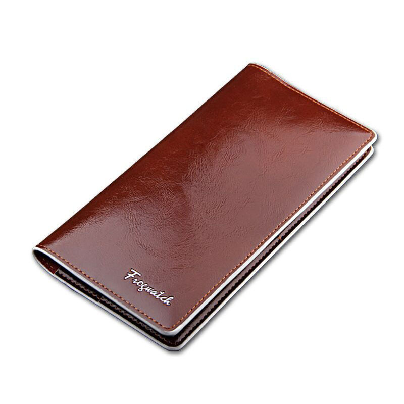 Famous designer brand men s genuine leather long Wallet Oil wax Ultra thin Smooth face casual