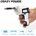 CRAZY POWER 3 6V USB Charge Adjustable Hand Electric Cordless Screwdriver For Battery Power Tools 26
