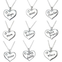Buy Love Mom Mommy Daddy Sister Grandma Believe Friends BFF Crystal Heart Pendant Necklace Chain Jewelry Family X'mas Gifts Party for $1.54 in AliExpress store