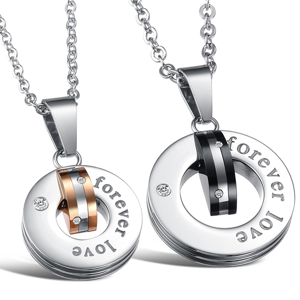 Price for 2 pcs New Personalized Rhinestone eternal love couple titanium steel necklaces & pendants(China (Mainland))