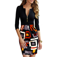 2015 New Office Work Vestidos Women Summer Sexy Dress Vintage Geometric Print Front Zipper Party Bodycon Casual Pencil Dresses(China (Mainland))