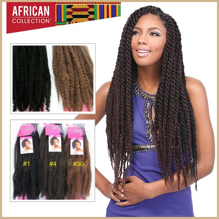 3pcs Synthetic Afro Kinky Bulk Hair Extension Twist Kinky Marley