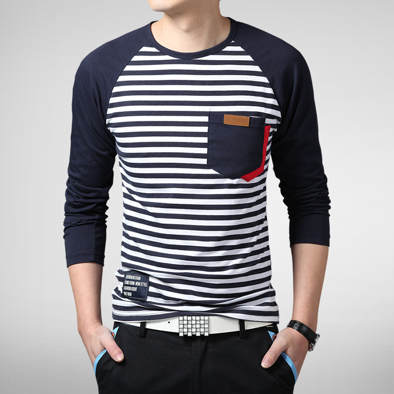 2015 new spring fashion brand men clothes striped slim fit for Mens striped long sleeve t shirt