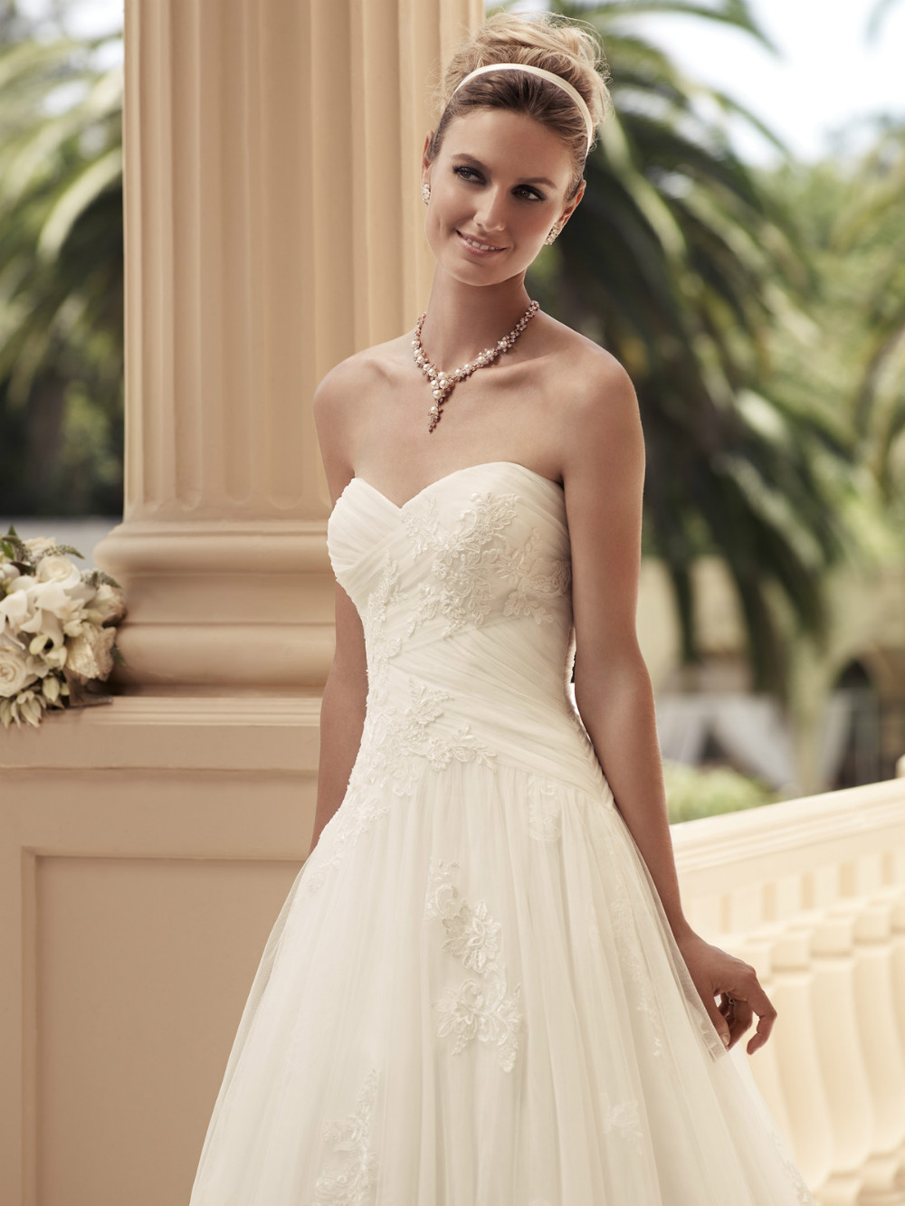 sweetheart-ruched-satin-bridal-gown-casablanca-2108-10