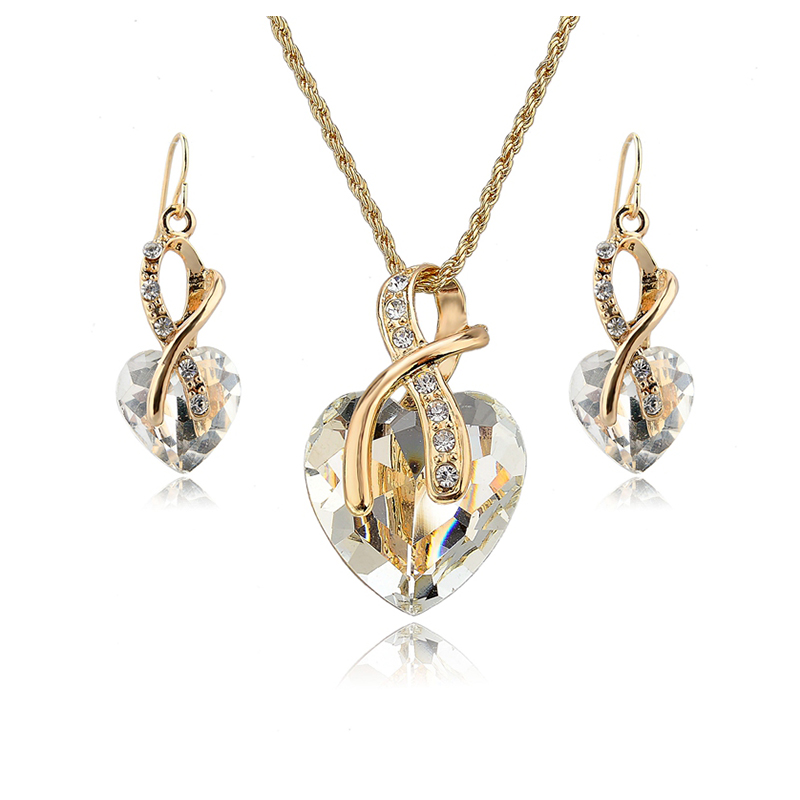 Gift Gold Plated Jewelry Sets For Women Crystal Heart Necklace Earrings Jewellery Set Bridal Wedding Accessories
