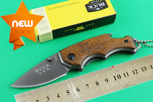 2015 OEM Buck X44 small mini folding thumb camping knives hunting knife rescue tool hand 440 titanium blade wood handle(China (Mainland))