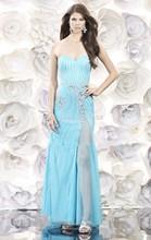 Light Sky Blue 2014 Sweetheart Sheath Prom Dresses Crystal Beaded Chiffon Evening Party Dress vestidos de fiesta Split