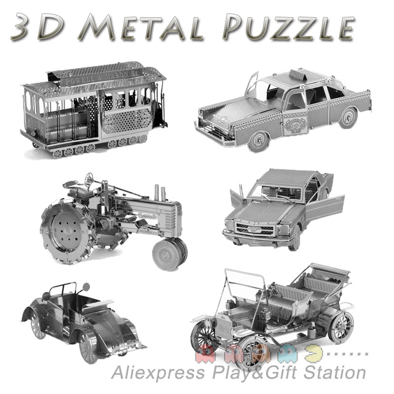 3D Metal Puzzles DIY Model Gift World's Vehicle Ford Car Taxi Beetle car Tractor Jigsaws toys Present Gift(China (Mainland))