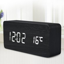 Promoción! calidad del LED Digital Alarm Clock madera de Control de sonido Despertador reloj de escritorio USB / AAA Powered indicador de temperatura(China (Mainland))