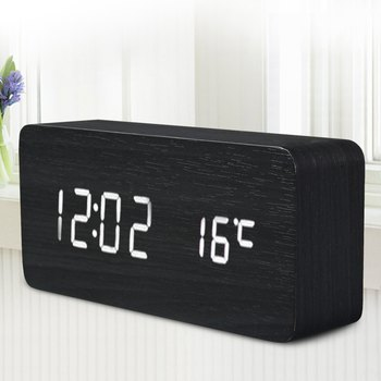 Top SaleQuality Digital LED Alarm Clock Sound Control Wooden Despertador Desktop Clock USB/AAA Powered Temperature Display Hours