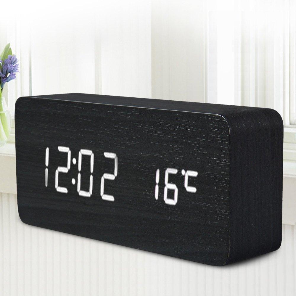 Promotion! Quality Digital LED Alarm Clock Sound Control Wooden Despertador Desktop Clock USB/AAA Powered Temperature Display(China (Mainland))