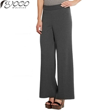 New European Style Women's Fashion Knitted Pants Solid High Waite Wide Leg Pants YC11842(China (Mainland))
