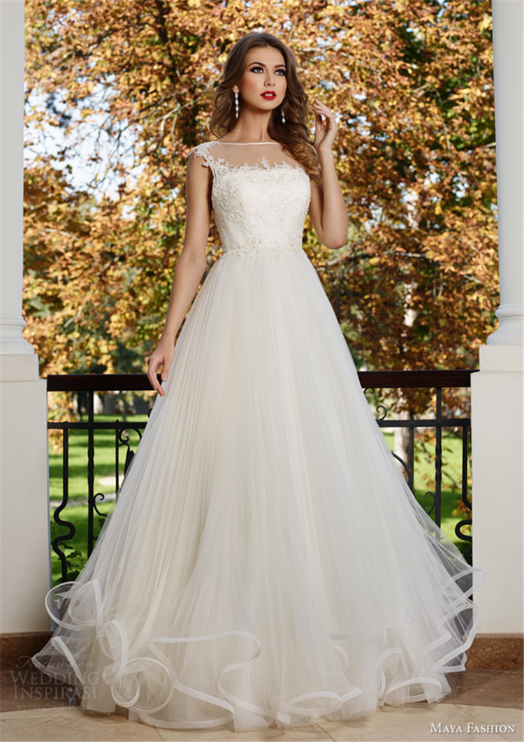 Boat neck floor length wedding dress 2015 applique wedding for Applique for wedding dress