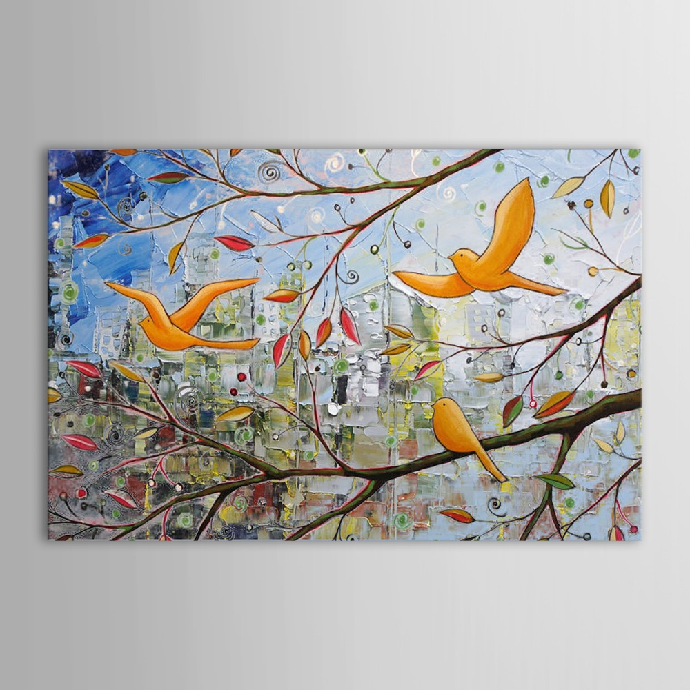 100 hand painted oil painting abstract birds in the tree for Meuble pop art